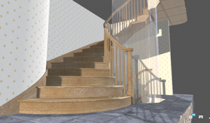 Curved stair with elevator