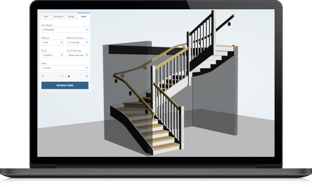Design your stair on the web staircon online designer Online 3d design maker