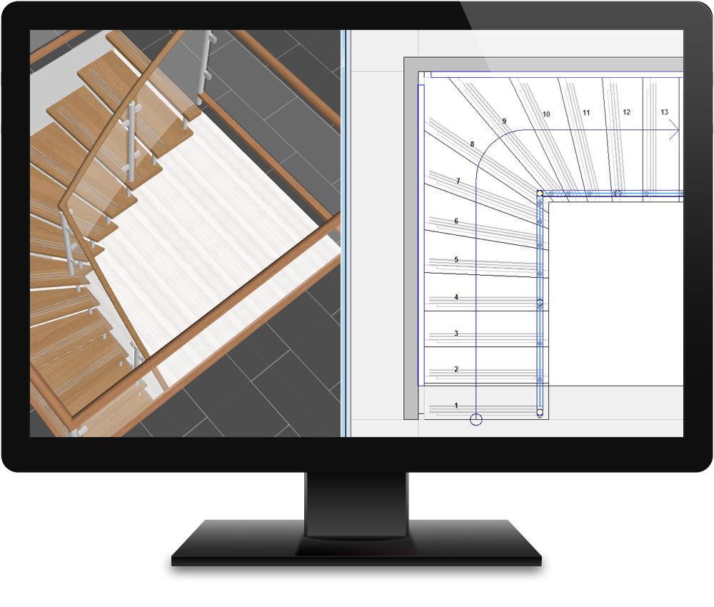 logiciel de conception construction et visualisation 2d 3d de votre escalier. Black Bedroom Furniture Sets. Home Design Ideas