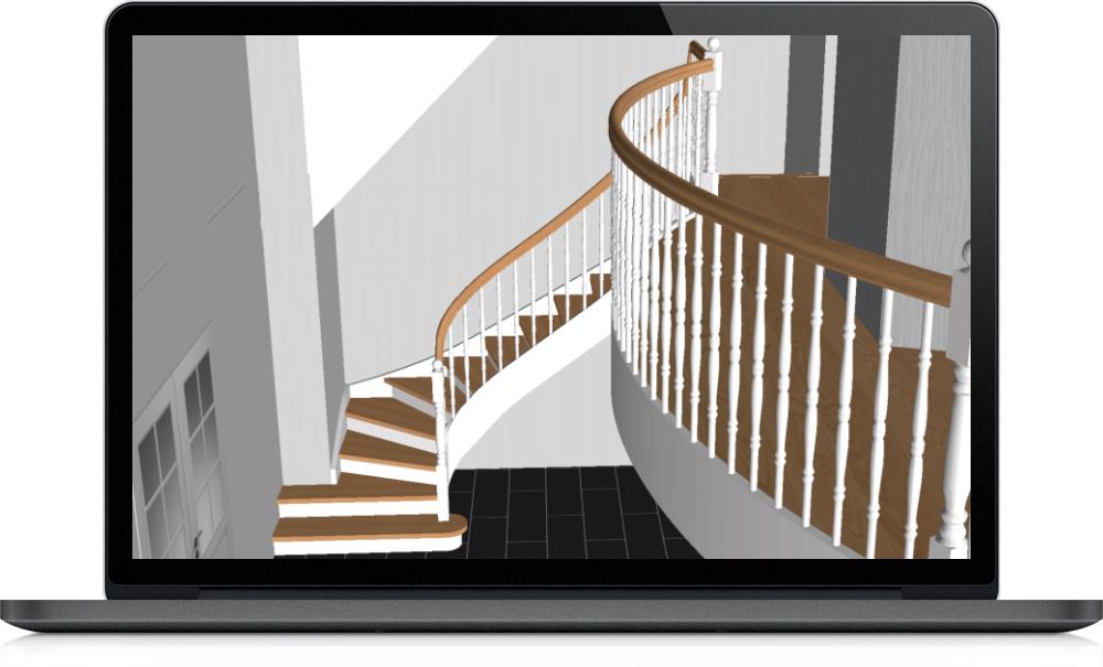 3D-vy trappa av Trappenmakerij Eric Lauwers